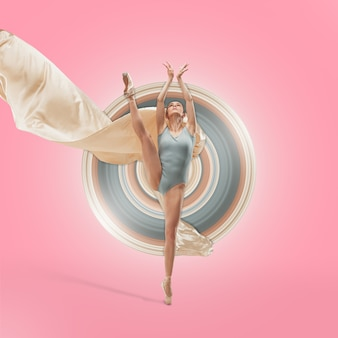優雅なバレエダンサーまたはスタジオの背景に分離された古典的なバレリーナダンス。白い絹の布で踊る女性。ダンス、優雅さ、アーティスト、現代、動きのコンセプト。抽象的なデザイン。