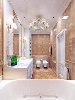 Изящный дизайн ванной комнаты в стиле ар-деко.