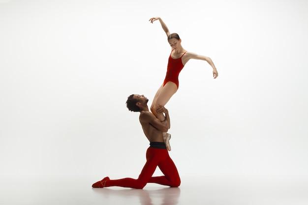 白いスタジオの背景に分離して踊る優雅なクラシックバレエダンサー。ワインとミルクの組み合わせのような真っ赤な服を着たカップル。優雅さ、芸術家、動き、行動、動きの概念。