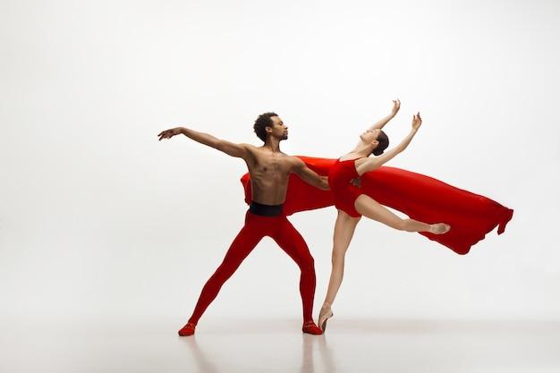 白い壁に孤立して踊る優雅なクラシックバレエダンサー。優雅さ、芸術家、動き、行動、動きの概念。
