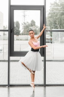 A graceful female classical ballet dancer on pointe shoes