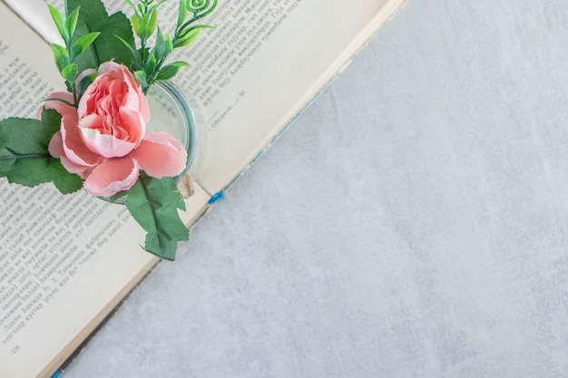 Graceful flowers in a jar on the book , on the white background. high quality photo