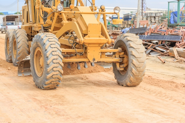 Grader road construction grader industrial machine on construction of new roads.