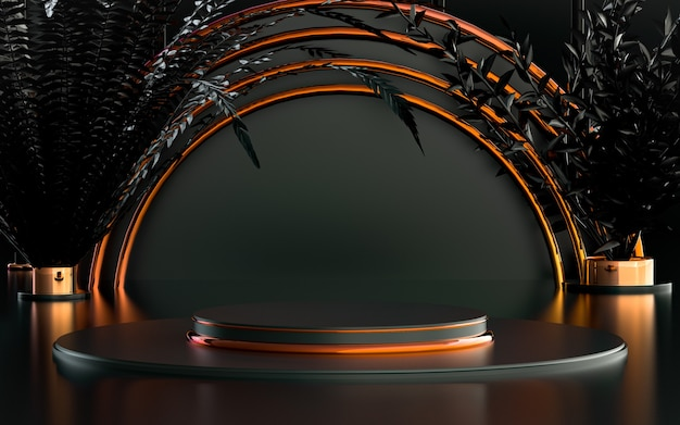 Gradient abstract ring circle with leaves luxury podium stage for product background 3d rendering