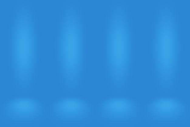 グラデーションブルーの抽象的な背景。ブラックビネットスタジオで滑らかなダークブルー。 Premium写真