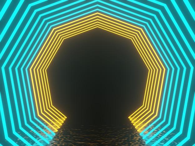 그라데이션 빛나는 네온 프레임. 3d 렌더링.