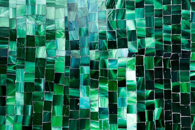 Gradient green mosaic bathroom tiles