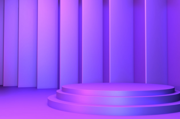 Gradient purple and blue abstract podium showcase.