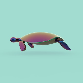 Gradient turtle 3d illustration