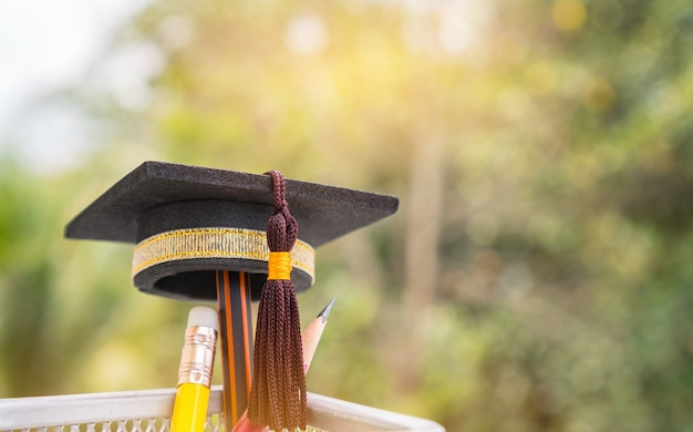 Graduated cap put on color pencil in basket. conceptual for educational is success study o
