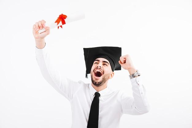 Graduating man shouting