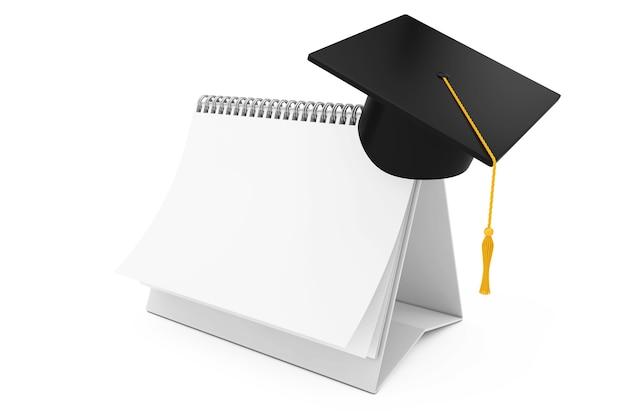 白地に白紙のデスクスパイラルカレンダー上の卒業アカデミックキャップ。 3dレンダリング