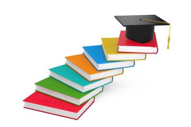 Выпускной академический кепка над книгами как лестница на белом фоне. 3d рендеринг