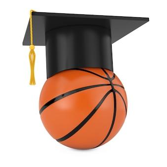 흰색 배경에 오렌지 농구 공 위에 졸업 학술 모자. 3d 렌더링