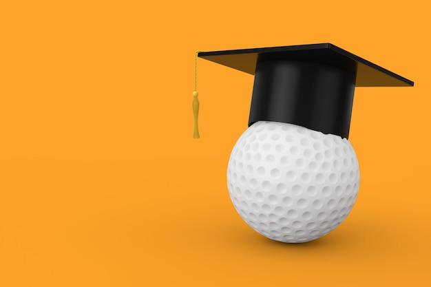 黄色の背景に白いゴルフボールの上の卒業アカデミックキャップ。 3dレンダリング