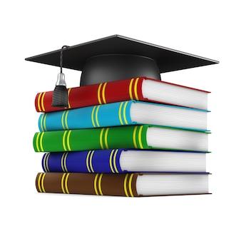白の卒業帽と本。