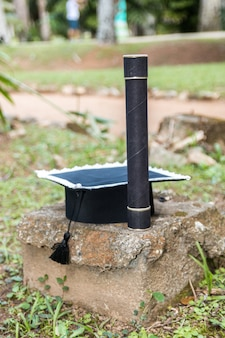 Кепка и соломинка на выпускной в рио-де-жанейро, бразилия.