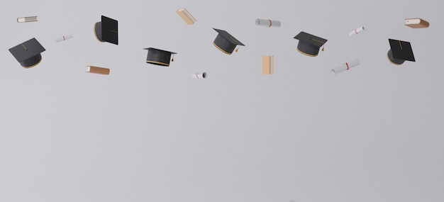 Graduation cap and diplomas flying over gray background