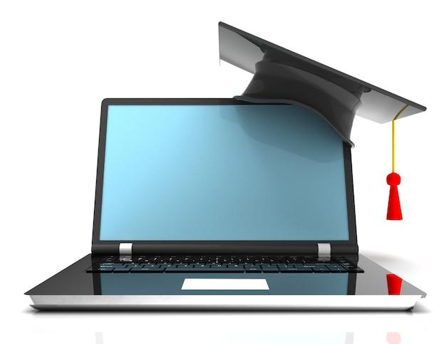 Выпускной колпачок на ноутбуке - 3d концепция электронного обучения