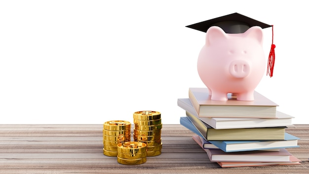 Graduation cap with piggy bank on books and coins stack. 3d render.