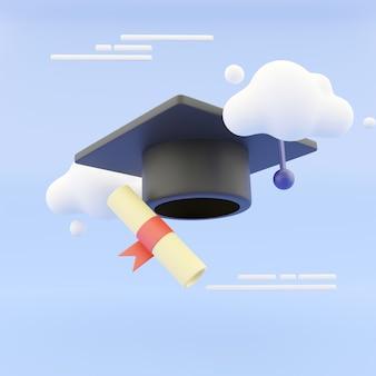 추상적인 배경에 구름과 졸업 모자와 졸업장 만화 스타일. 3d 그림입니다. 3d 렌더링.