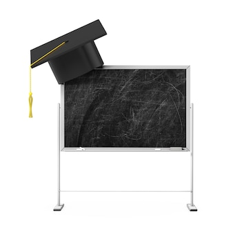 Graduation hat on the blank chalk blackboard with free space for your design on a white background. 3d rendering