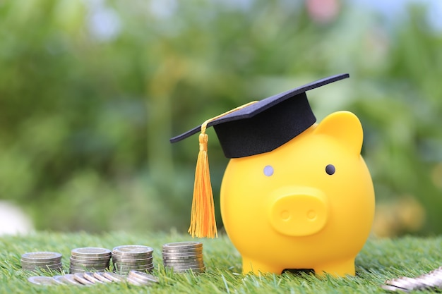 Graduation hat on golden piggy bank with stack of coins money on natural green