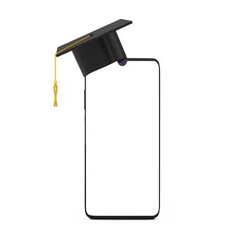 흰색 바탕에 디자인을 위한 여유 공간이 있는 빈 디스플레이 휴대 전화에 졸업 모자. 3d 렌더링