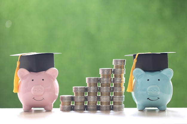 Выпускной шляпа на копилке с стопкой монет на зеленом фоне природы, экономия денег на образование