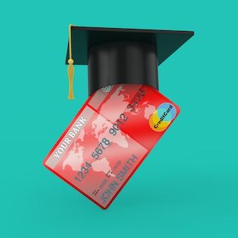 緑の背景にクレジットカード上の卒業帽子。 3dレンダリング