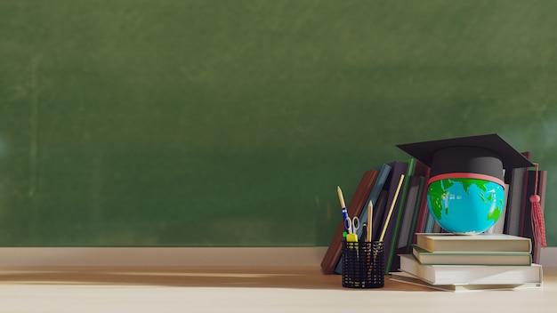 나무 테이블에 스택 책과 졸업 모자입니다. 3d 렌더링