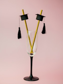 Graduation straws in fancy glass