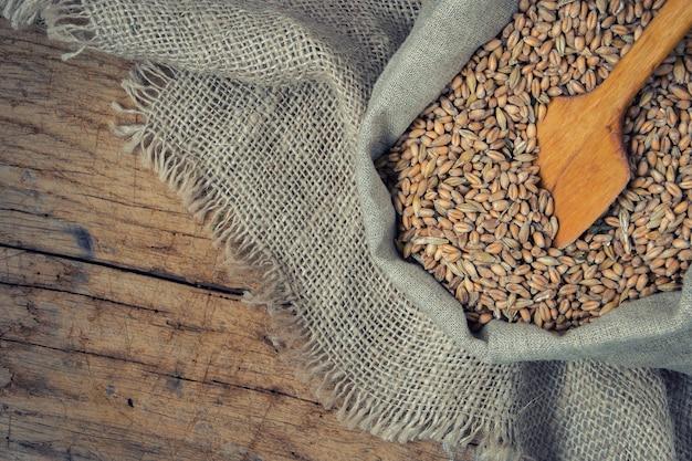 Grain in a canvas bag