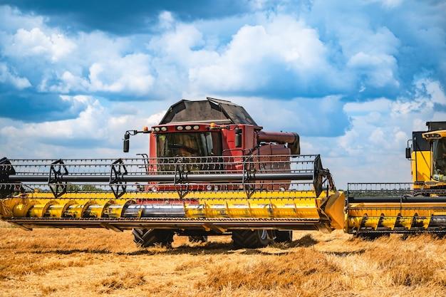 곡물 수확은 화창한 날에 결합됩니다.