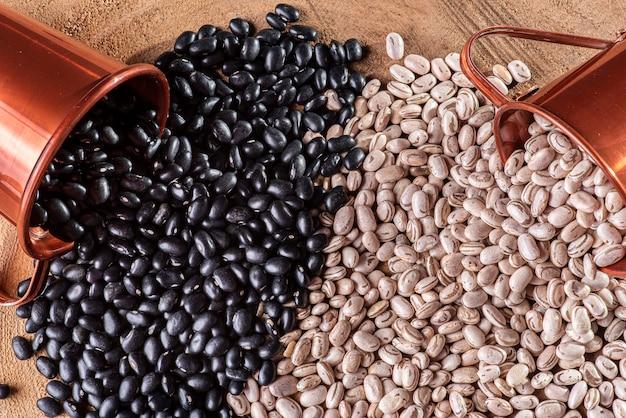 곡물 품종 - 검은콩과 갈색콩.