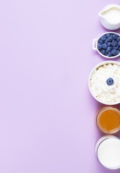 Grained cottage cheese and blueberries in a bowl