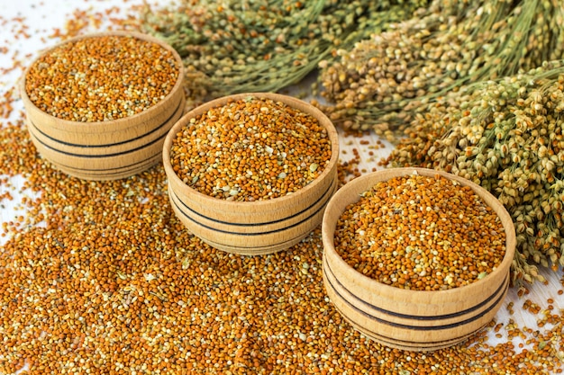 Grains of millet in a wooden a box. twigs with millet