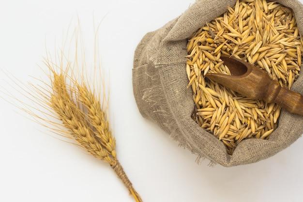 袋にオート麦の粒。木製スプーン。小枝大麦