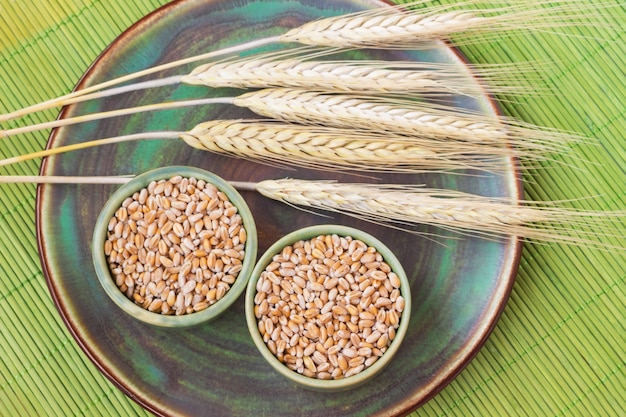 Grains and spikelets of barley on a ceramic plate. shallow green bamboo sticks