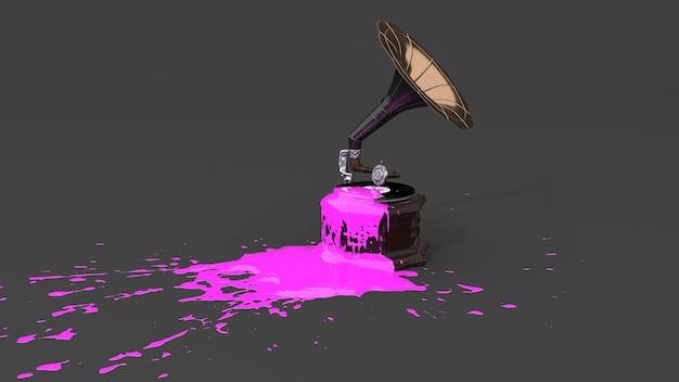 しみの形でピンクのペンキで満たされた蓄音機、3dイラスト