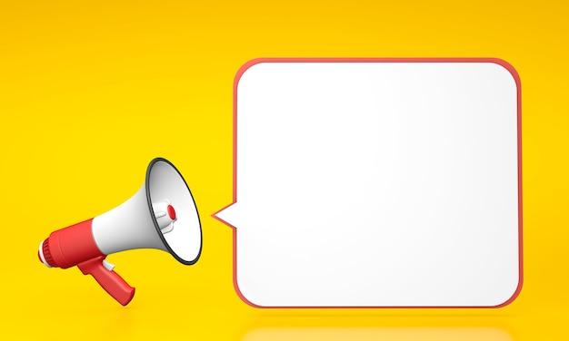 Граммофон на желтом фоне с белым пузырем. 3d визуализация.