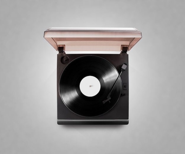 Gramophone vinyl player playing record isolated