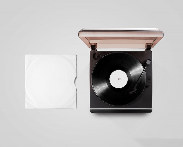 Gramophone vinyl player and record cover sleeve  top view