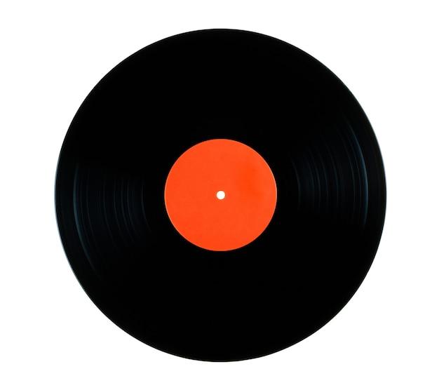 クリッピングパスと白い背景で分離された蓄音機のビニールレコード
