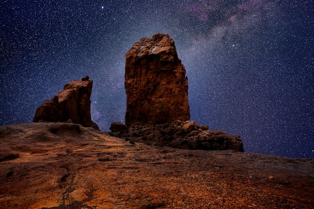 Gran canaria roque nublo in night stars light