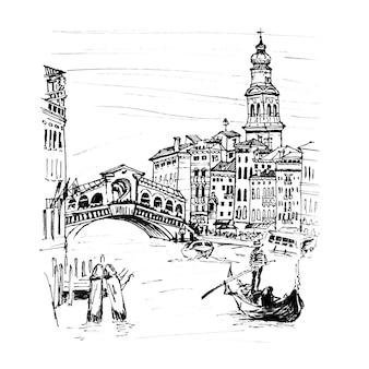 스케치 스타일, 베니스, 이탈리아에서 다리 폰테 디 리알토 근처 그랜드 운하. 그림 제작 라이너