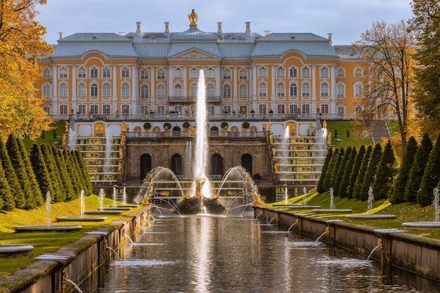 Grand cascade fountain in peterhof saint petersburg russia