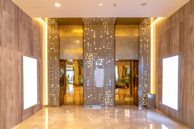 The grand elevator lobby of the hotel