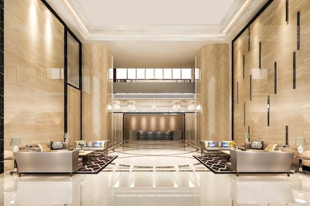 壮大な高級ホテルのレセプションホールの入り口とラウンジレストラン