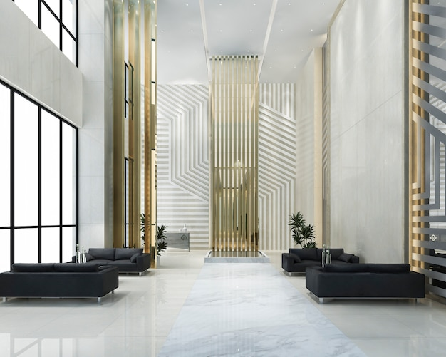 Grand luxury hotel reception hall entrance and lounge restaurant